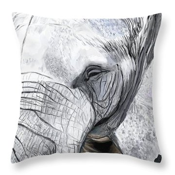 Throw Pillow featuring the painting Elephant II by Jeanne Fischer