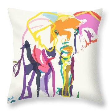 Elephant In Color Ecru Throw Pillow