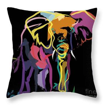 Elephant In Colour Throw Pillow