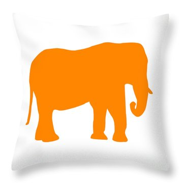 Elephant In Orange And White Throw Pillow