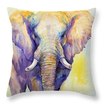 Elephant In Purple Throw Pillow