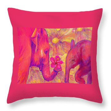 Elephant Love Throw Pillow by Jane Schnetlage