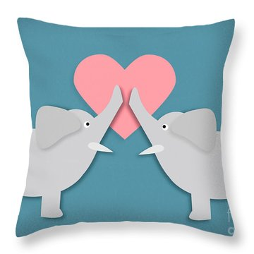 Elephant Love Throw Pillow by Sharon Dominick