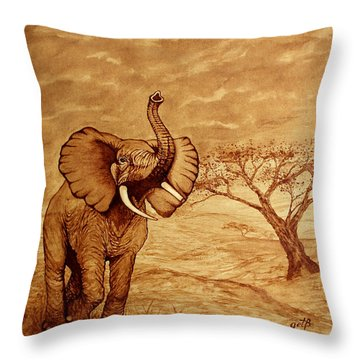 Throw Pillow featuring the painting Elephant Majesty Original Coffee Painting by Georgeta  Blanaru