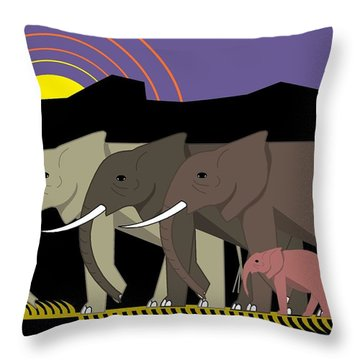 Elephant Parade Throw Pillow