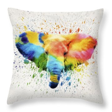 Elephant Splash Throw Pillow by Aged Pixel