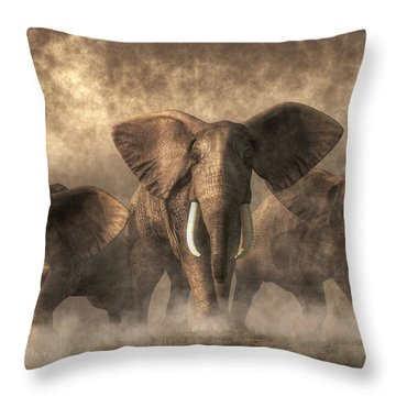 Elephant Stampede Throw Pillow