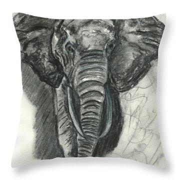 Throw Pillow featuring the drawing Elephant Study No.1 by Jennifer Godshalk