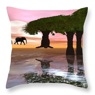 Throw Pillow featuring the digital art Elephant Walk by Jacqueline Lloyd