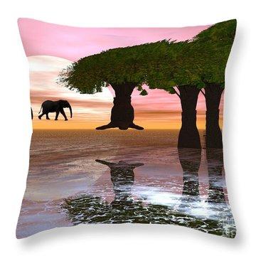 Elephant Walk Throw Pillow by Jacqueline Lloyd