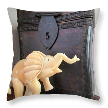 Elephant With Elephant Box Throw Pillow