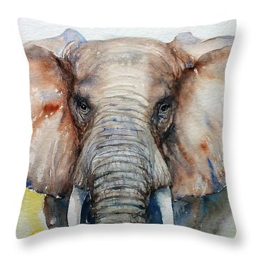 Elephant_chestnut Brown Throw Pillow