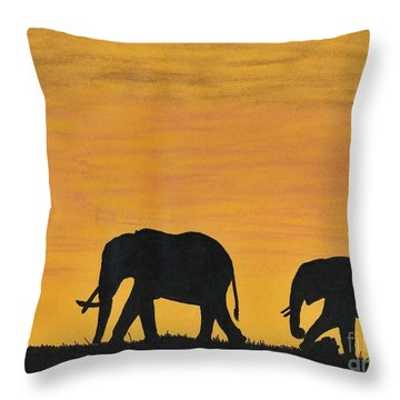 Elephants - At - Sunset Throw Pillow