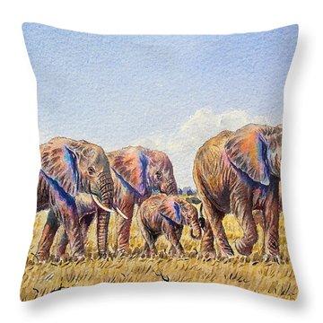 Elephants Walking Throw Pillow