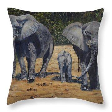 Elephants With Calf Throw Pillow by Caroline Street