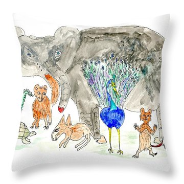 Elephoot And Friends Throw Pillow by Helen Holden-Gladsky