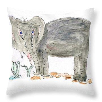 Elephoot Is Sad. Throw Pillow