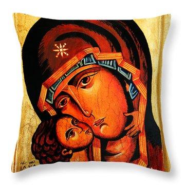 Eleusa Icon Throw Pillow by Ryszard Sleczka