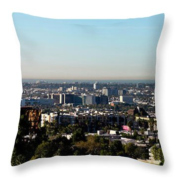 Elevated View Of City, Los Angeles Throw Pillow