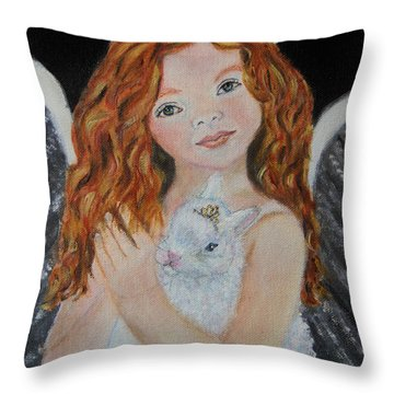 Eliana Little Angel Of Answered Prayers Throw Pillow by The Art With A Heart By Charlotte Phillips