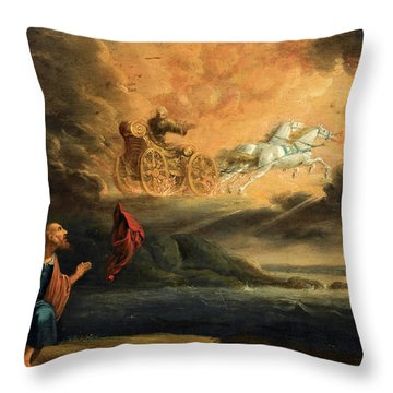 Elijah Taken Up Into Heaven In The Chariot Of Fire Throw Pillow
