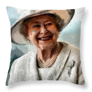 Elizabeth II The Queen Of England Throw Pillow by Tyler Robbins