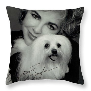 Elizabeth Taylor And Friend Throw Pillow by Studio Photo