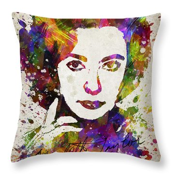 Elizabeth Taylor In Color Throw Pillow by Aged Pixel