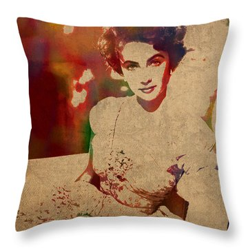 Elizabeth Taylor Watercolor Portrait On Worn Distressed Canvas Throw Pillow