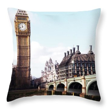 Elizabeth Tower On The Thames Throw Pillow by Jessica Panagopoulos