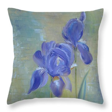 Throw Pillow featuring the painting Elizabeth's Irises by Judith Rhue