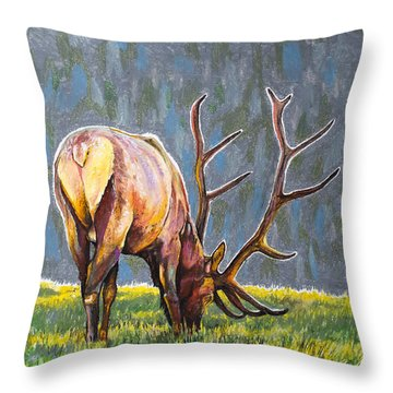 Throw Pillow featuring the painting Elk by Aaron Spong