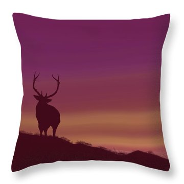 Throw Pillow featuring the digital art Elk At Dusk by Terry Frederick