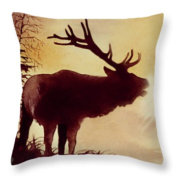 Elk Bugle Throw Pillow
