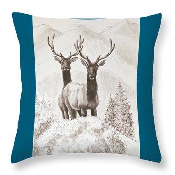Elk Encounter Throw Pillow