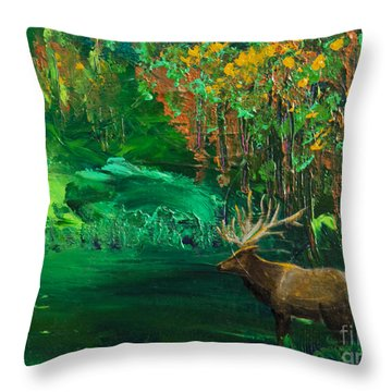 Elk Fall Throw Pillow by Tracy L Teeter