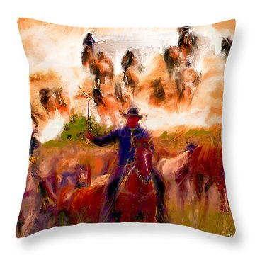 Elk Horse Round Up Throw Pillow