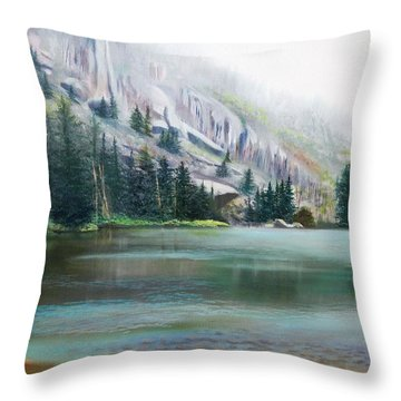 Elk Lake Mist Throw Pillow
