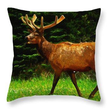 Elk Portrait Throw Pillow by Ayse and Deniz