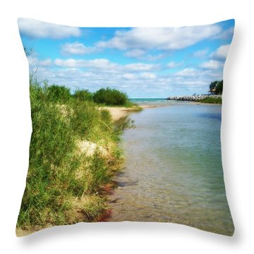 Elk River With Fluffy Clouds Throw Pillow