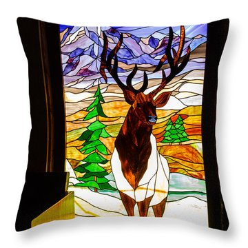 Elk Stained Glass Window Throw Pillow by Robert Bales