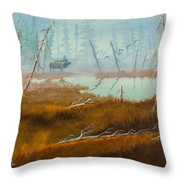 Elk Swamp Throw Pillow