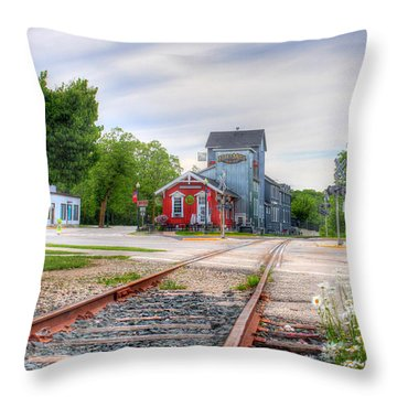 Elkhart Lake Off The Rail And Feed Mill Market Throw Pillow