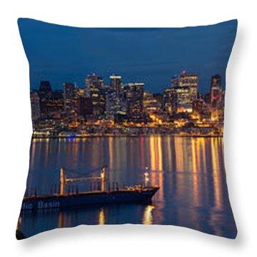Elliott Bay Seattle Skyline Night Reflections  Throw Pillow by Mike Reid