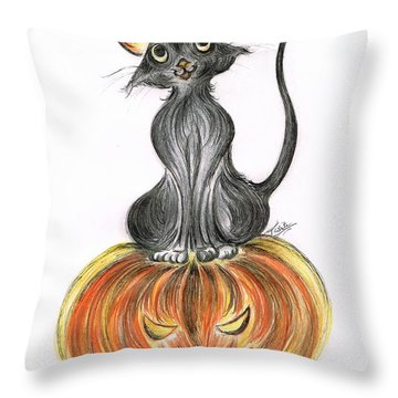 Elma's Pumpkin Throw Pillow by Teresa White