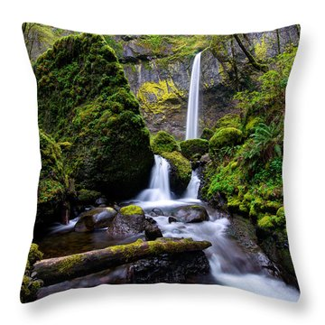 Throw Pillow featuring the photograph Elowah Falls by Dustin  LeFevre