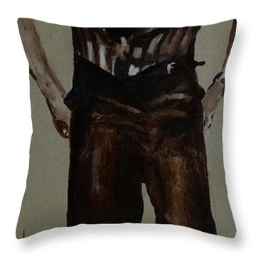 Throw Pillow featuring the painting Elvis 1953 by Eric Dee