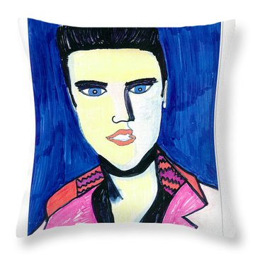 Throw Pillow featuring the painting Elvis by Don Koester