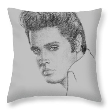 Elvis In Charcoal Throw Pillow