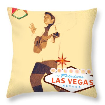 Throw Pillow featuring the mixed media Elvis On Tv by Michelle Dallocchio